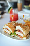 Club sandwich chicken burger with ham Royalty Free Stock Image