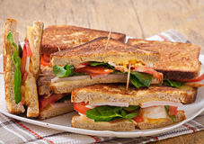 Club sandwich with chicken and ham Royalty Free Stock Photography