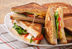Club sandwich with chicken and ham Royalty Free Stock Image
