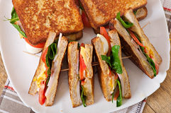 Club sandwich with chicken and ham Stock Photo