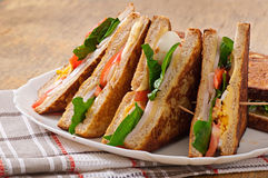 Club sandwich with chicken and ham Stock Image