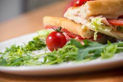 Club sandwich, close up shot royalty free stock photography