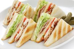 Club sandwich , clubhouse Sandwich. American clubhouse sandwich Stock Images