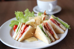 Club sandwich with coffee Royalty Free Stock Photos
