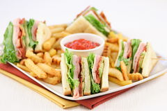 Club sandwich fingerfood. No one can resist this delicious  finger food perfect for parties and more Royalty Free Stock Photos