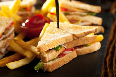 Club Sandwich with French Fries Stock Photo