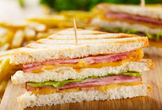 Club sandwich with french fries Stock Photography