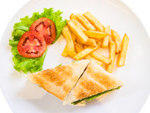 Club sandwich and frenchfries Royalty Free Stock Photo