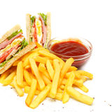 Club Sandwich with fries. And red sauce stock photos