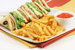 Club sandwich and fries. Fast great food  colorful and delicious,perfect for picnics and quick bites Royalty Free Stock Photography