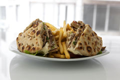 CLub sandwich with gyros. Under studio lights Royalty Free Stock Image
