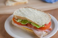 Club Sandwich. On homemade white bread on a counter top Stock Image