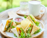 Club sandwich with hot mocha. On the table Stock Photo