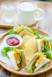 Club sandwich with hot mocha. On the table Stock Photography
