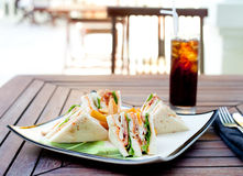 Club sandwich with iced soda drink Royalty Free Stock Images