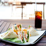 Club sandwich with iced soda drink Stock Photography