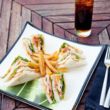 Club sandwich with iced soda drink Royalty Free Stock Photography