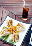 Club sandwich with iced soda drink Stock Images