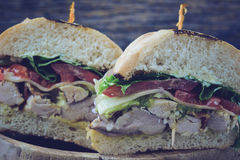 Club sandwich with Instagram Style Filter. Royalty Free Stock Photos