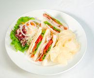 Club Sandwich Isolated On White Stock Photo