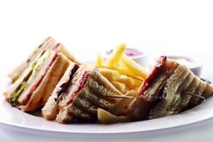 Club sandwich with meat and green Royalty Free Stock Photo