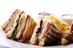 Club sandwich with meat and green. Club sandwich with salami and green stock photo