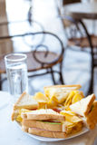 Club Sandwich. At an Outdoor Greek Cafe stock photography