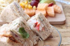 Club sandwich and pasta spaghetti with salad mix fruit Royalty Free Stock Photography