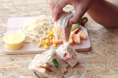 Club sandwich and pasta spaghetti with salad mix fruit Stock Photo