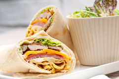 Club sandwich pita bread roll Stock Photo