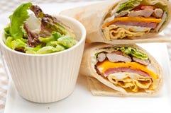 Club Sandwich Pittabrotrolle Stockbild