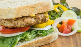 Club Sandwich with pork and vegetable Stock Photo