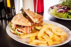 Club sandwich with potato French fries Royalty Free Stock Photo