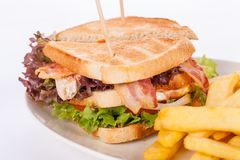 Club sandwich with potato French fries Royalty Free Stock Photos