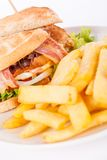 Club sandwich with potato French fries Stock Image