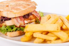 Club sandwich with potato French fries Stock Photos