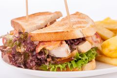 Club sandwich with potato French fries Stock Photo
