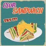Club Sandwich retro poster Stock Image