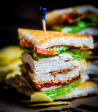 Club sandwich on rustic wooden background Stock Photos