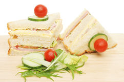 Club sandwich and salad garnish Royalty Free Stock Images
