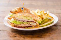 Club Sandwich sandwich with coleslaw and pickles Royalty Free Stock Image