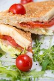 Club sandwich with cherry tomatoes stock images