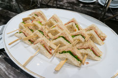 Club Sandwich with Tuna in Plate Stock Image