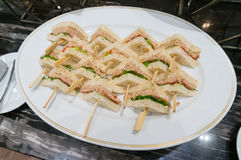 Club Sandwich with Tuna in Plate Royalty Free Stock Image