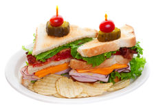 Club sandwich on white Royalty Free Stock Image