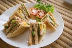 Club sandwich in white dish Stock Photos