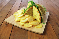 Club Sandwiches. With potato chips and a dill pickle.  on white Stock Image