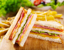 Club sandwiches with french fries Stock Photos