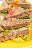 Club sandwiches with ham and cheese, Stock Image