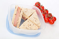Club Sandwiches with Ham and Cheese Stock Images